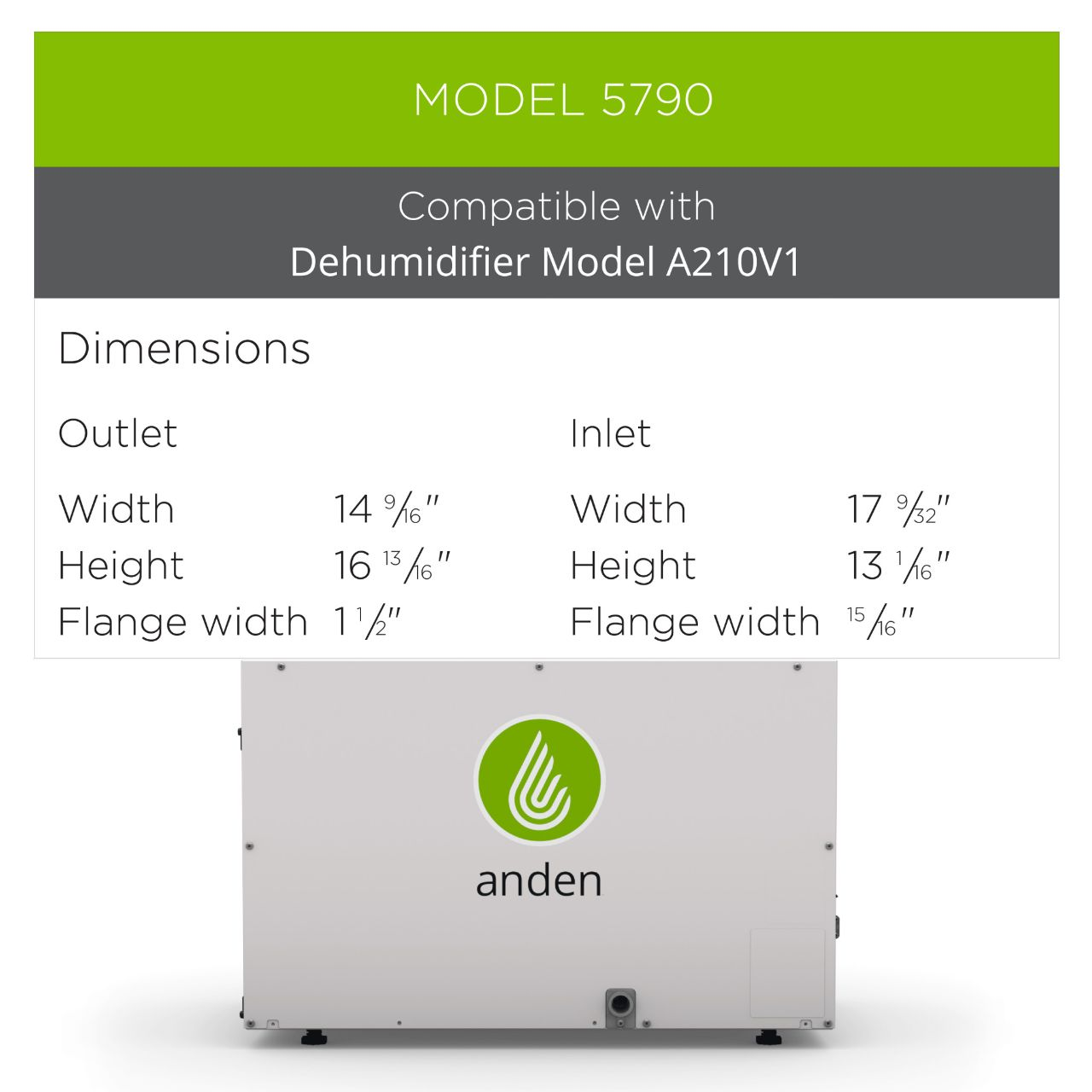 Anden-Model-5790-Dehumidifier-Grow-Room-Duct-Kit